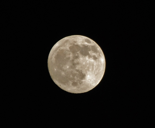 Full moon low in the eastern sky 180111